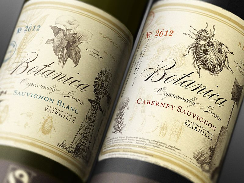 Botanica Wines botanical wine labels Design Trend Botanical - wine label