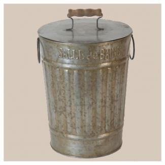 Poubelle retro deco zinc WC Salle de Bain - Antic Line ...