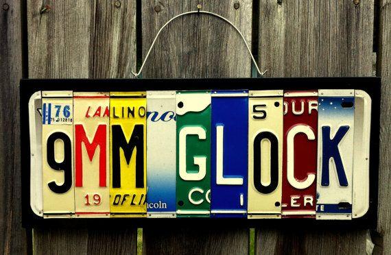 "Handmade ""9mm Glock"" License Plate Sign on Etsy, $30.00"