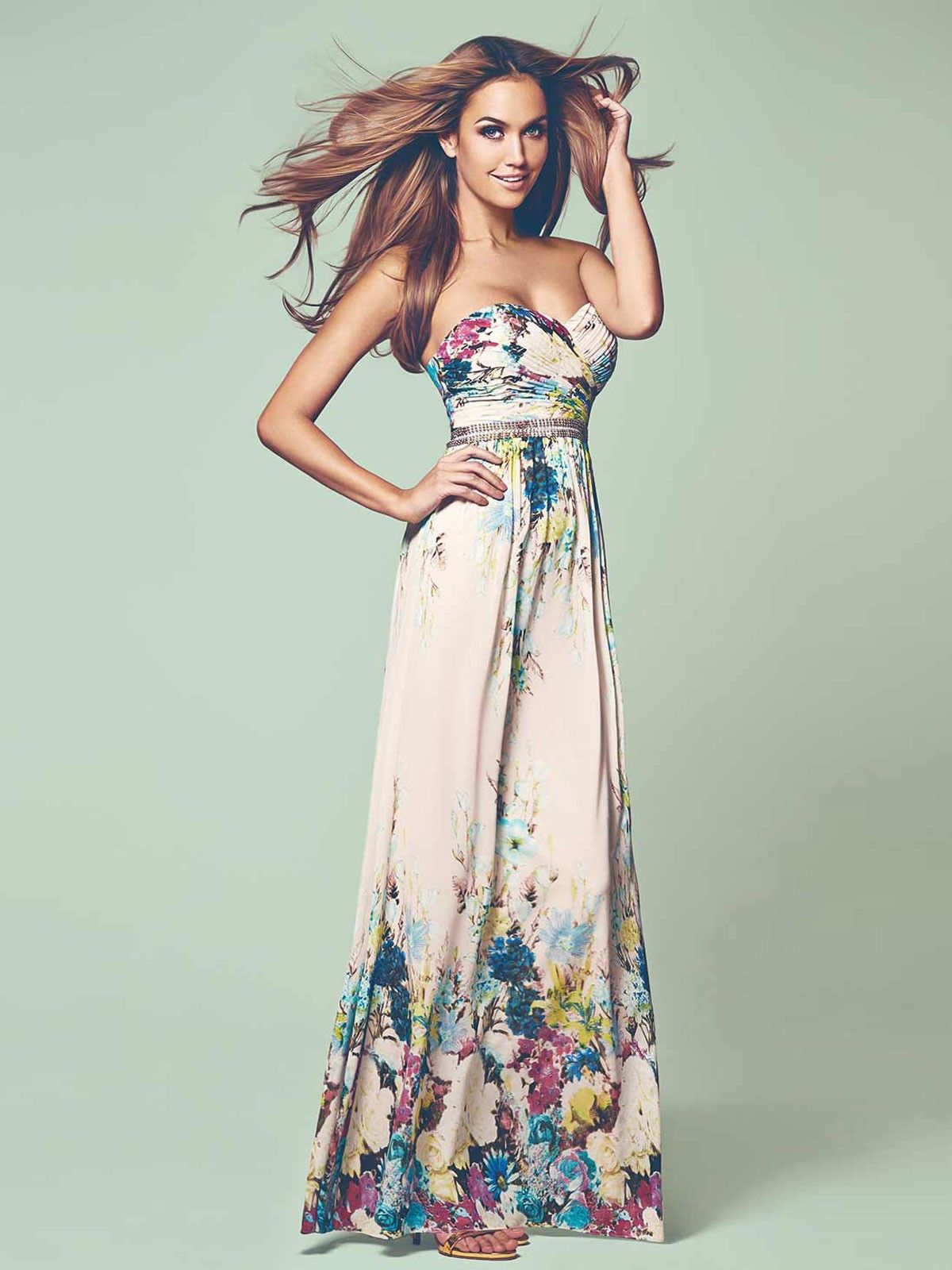 Floral maxi dress for wedding guest