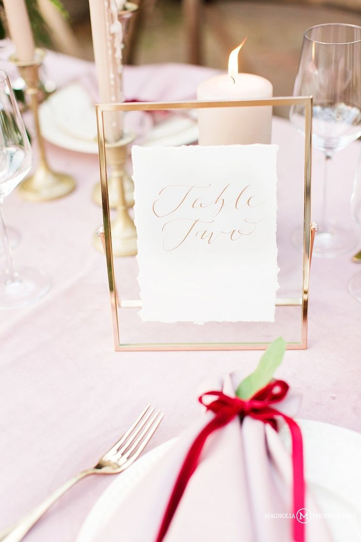 calligraphy - gold table number in gold frame | Magnolia Wedding ...