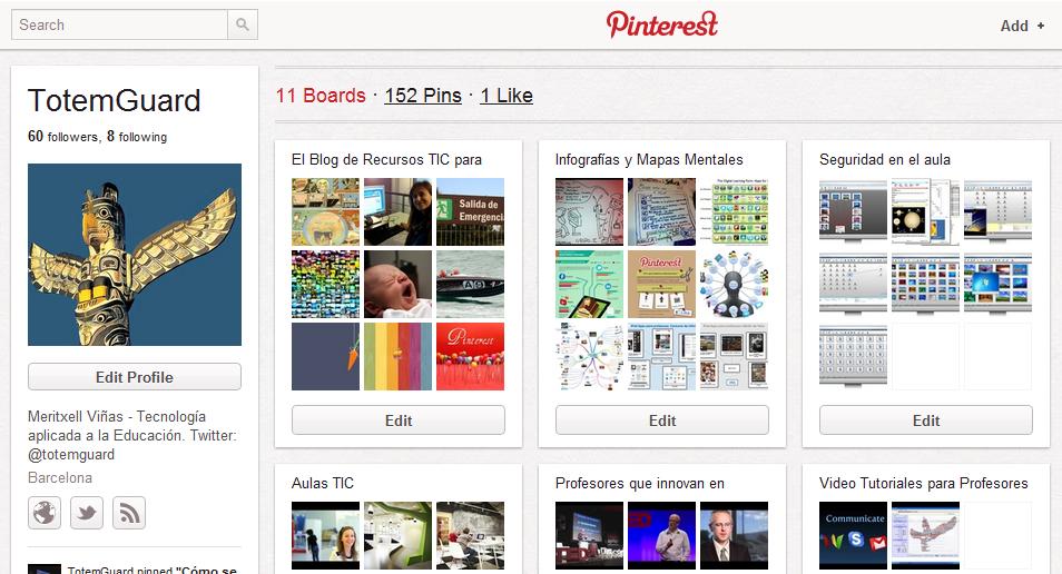 2012 | Vídeo Tutorial de Pinterest en español, como recurso TIC para el profesorado cara a su uso en el aula y con sus alumnos/as.