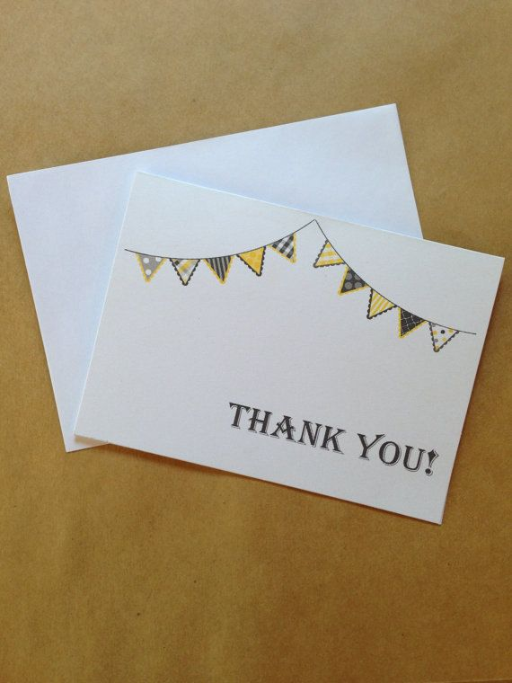 Yellow & Grey Bunting Thank You CardsWedding by PaperFever on Etsy, $8.00
