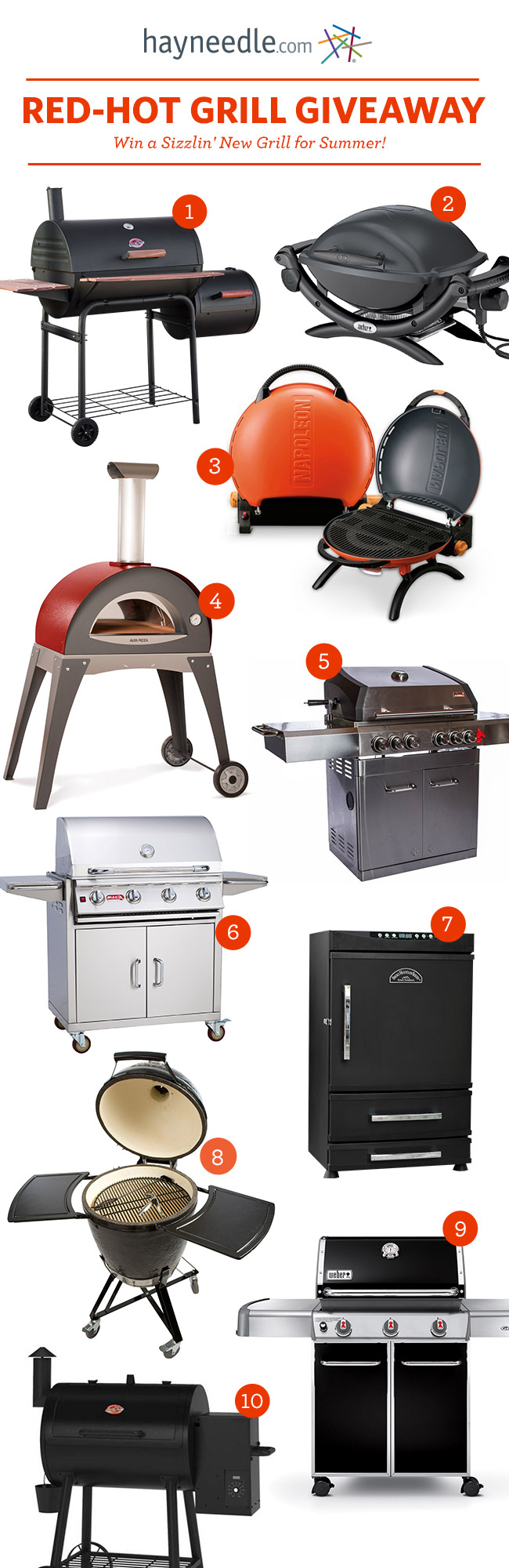 Enter now and one of these coveted outdoor-cooking favorites could soon be yours! #hayneedle #grillgiveaway #summergiveaway
