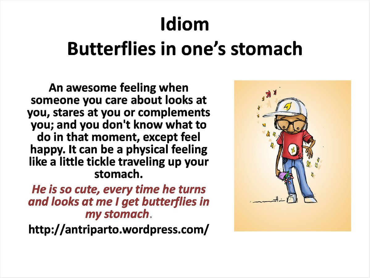 Expression Butterflies In One S Stomach Learnenglish