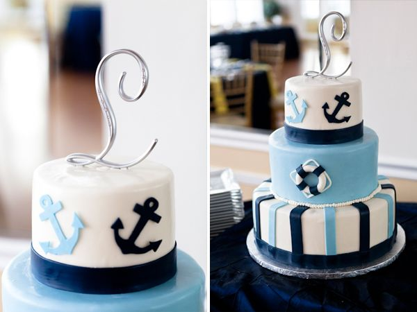 Nautical Wedding Cake With Anchors | Katie Yuen Photography