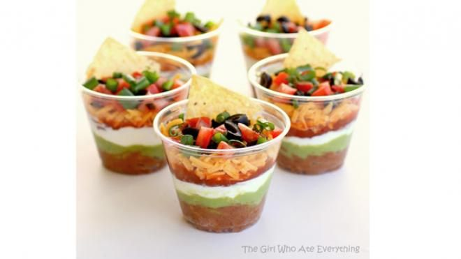 These mini-layer dips from The Girl Who Ate Everything can be individualized for any party goer. Experiment with vegan-only cups or add some of your favorite ingredients for a unique...