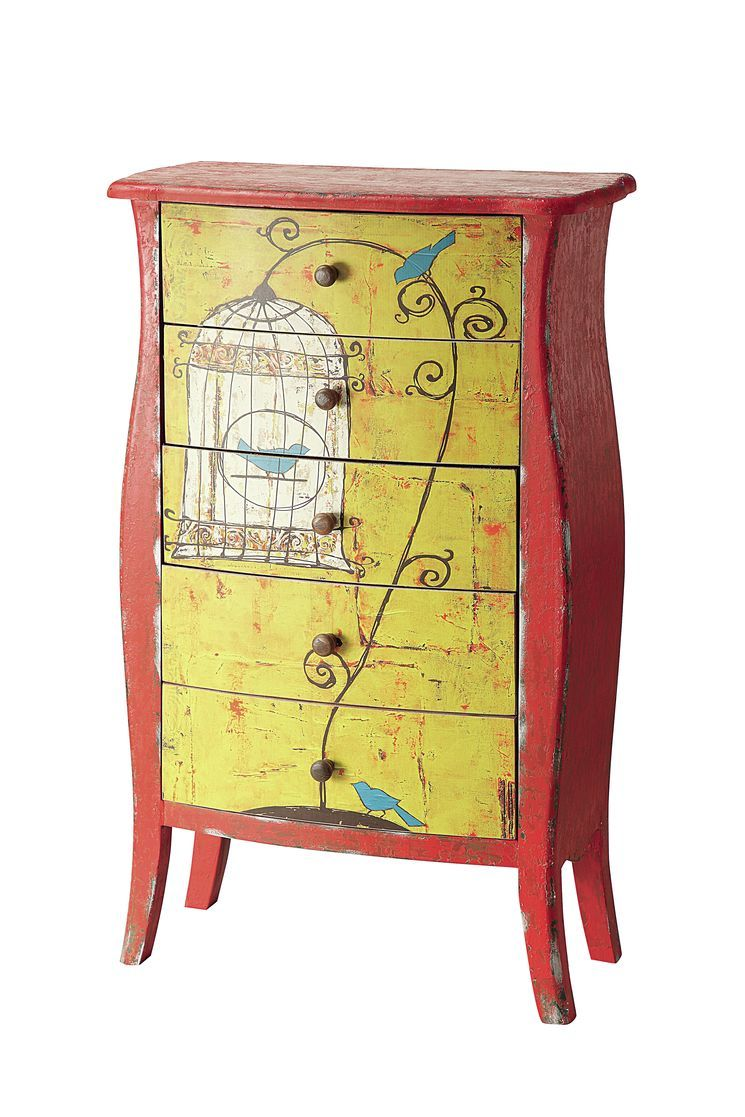 whimsical furniture and decor. Whimsical And Colourful, Our Emily Little Chest Of Drawers Turns Function Into Fantasy. Feature With A Real Bird Cage To Emphasize The Frivolity. Furniture Decor
