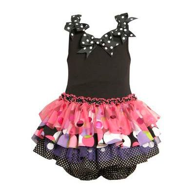 Bonnie Jean Black and Fuchsia Drop Waist Tutu Dress. #tutudress