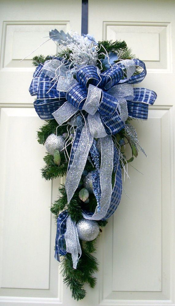 Blue Christmas Swag Wreath Blue And Silver Door Decor Evergreen Swag Wreath Christmas Swags Christmas Flowers Blue Christmas