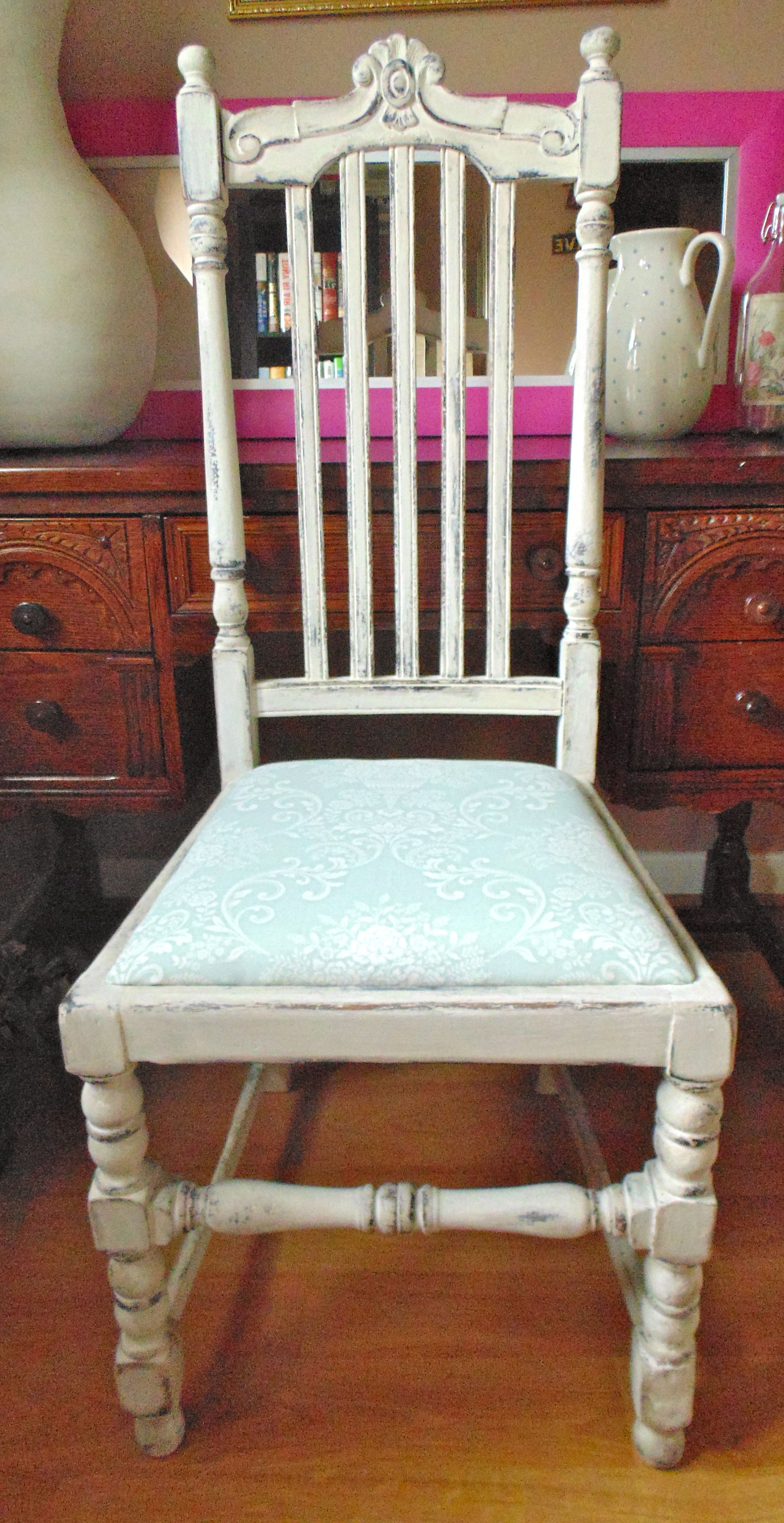 Shabby Chic Vintage Chair in Annie Sloan Country Grey & Old White, highly distressed.