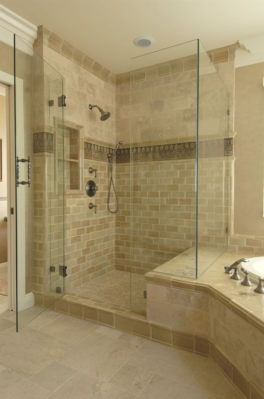 Another Example Of Shower Bench Joining Tub Surround. Note The Tile Accent  In The Shower