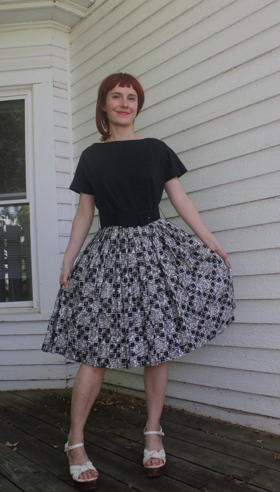 Vintage Print Cotton Day Dress Black White Gray by soulrust