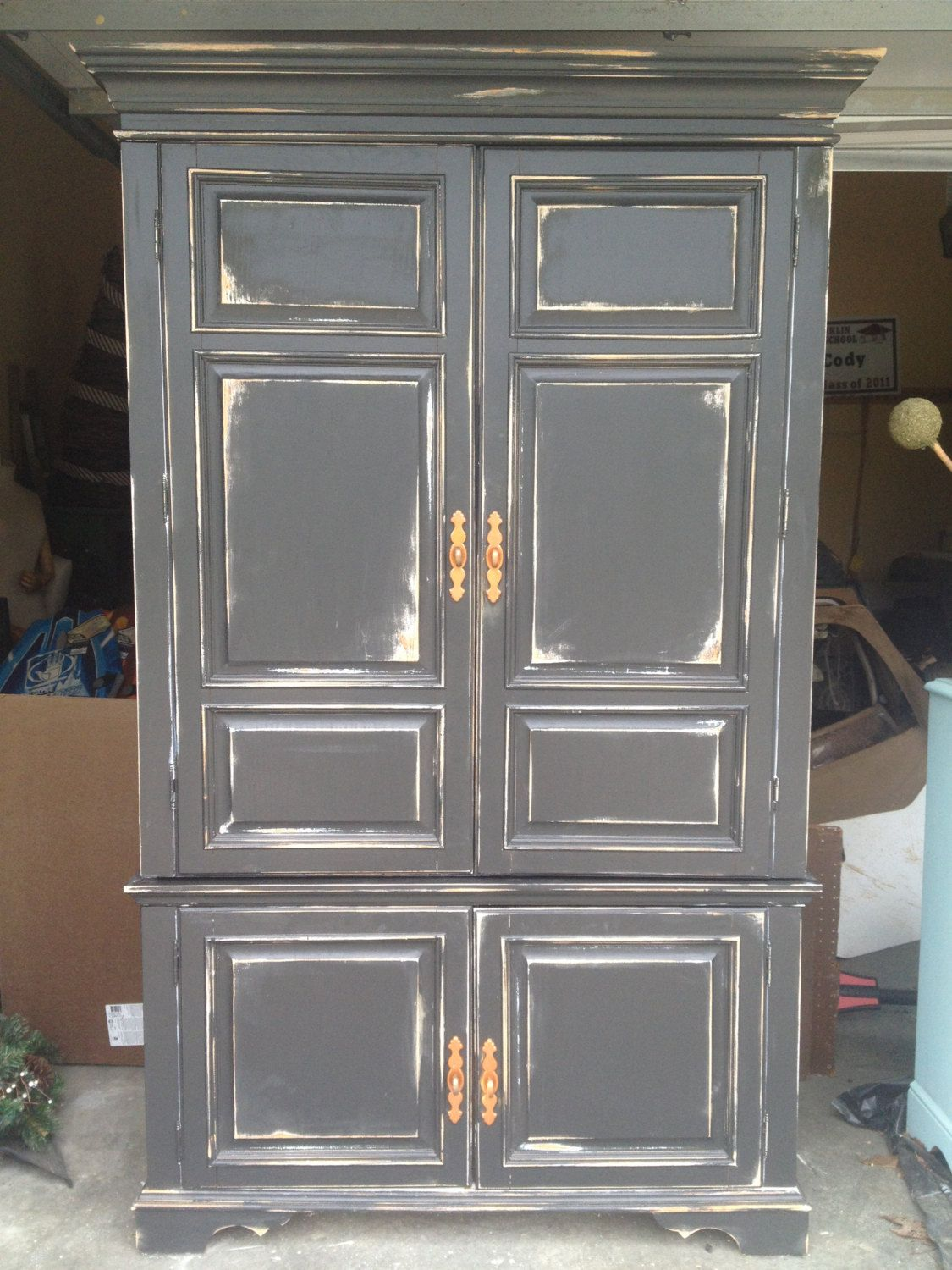 Best Large Distressed Black Storage Armoire By 400 x 300