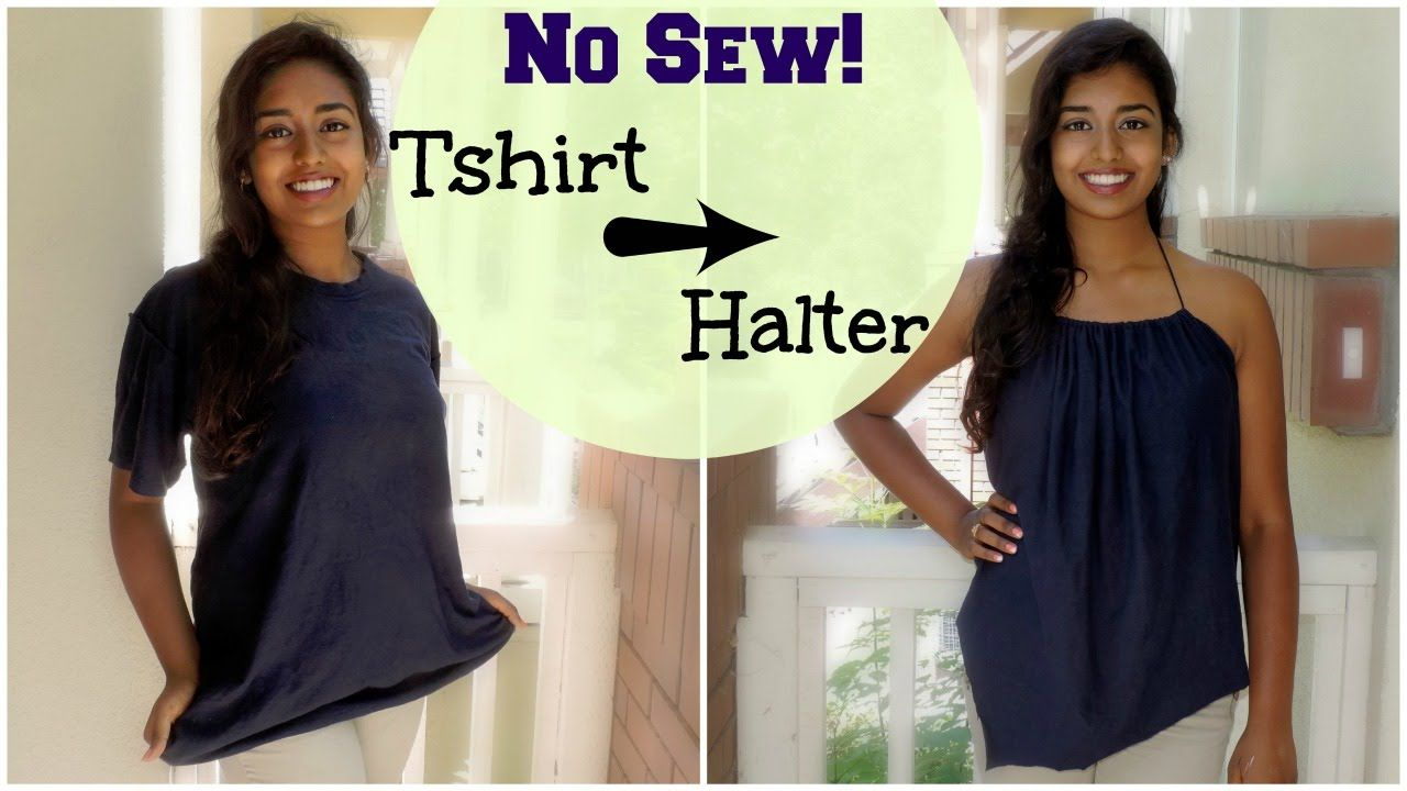 Diy no sew tshirt reconstruction to draped halter top