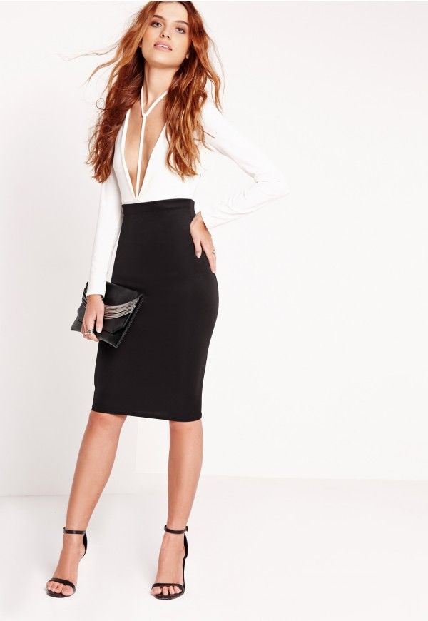 fe43294efa In a figure flattering style, this scuba midi skirt is a new must have for