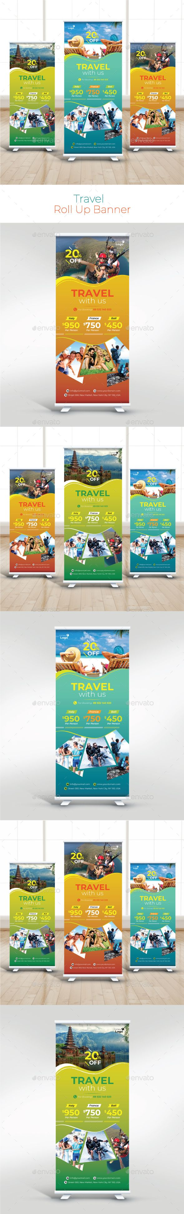 Travel Roll Up Banner | Ai illustrator, Banner template and Banners