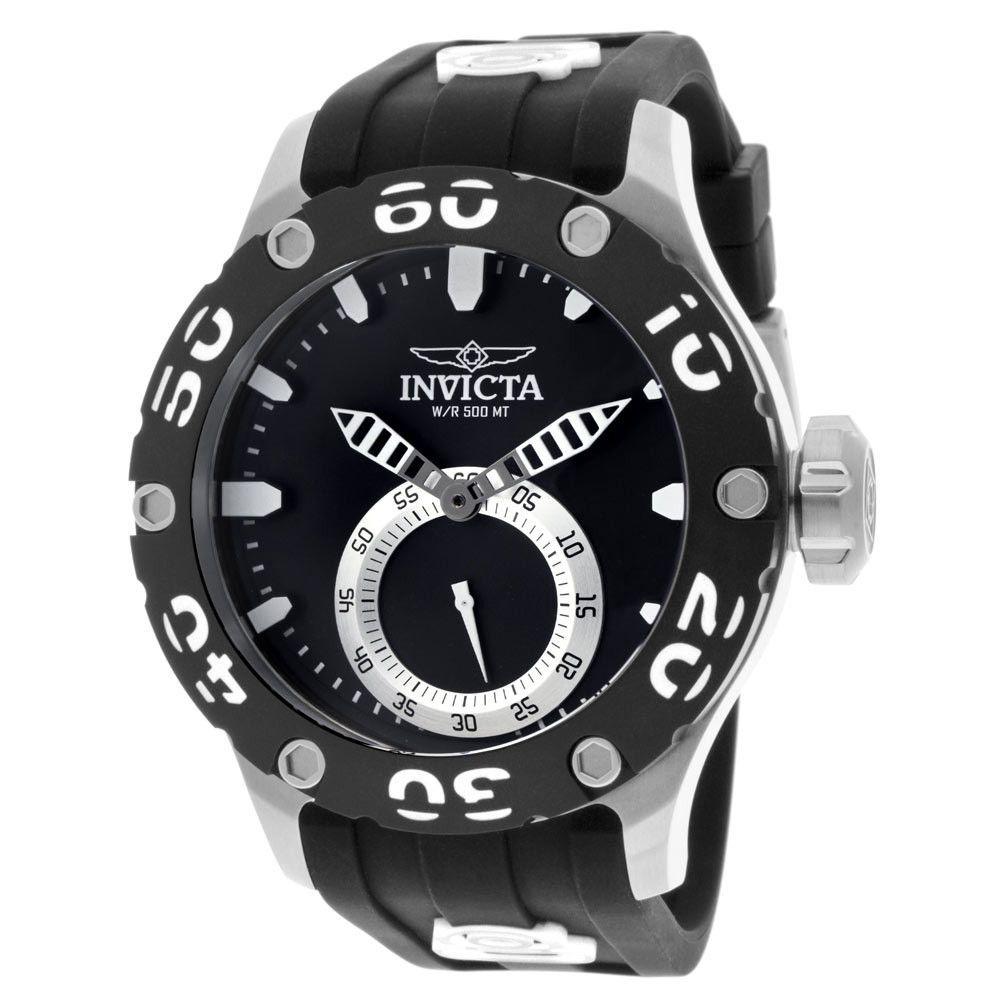 Invicta 12703 Men's Russian Diver White Accent Bezel Black Dial Rubber Strap Dive Watch
