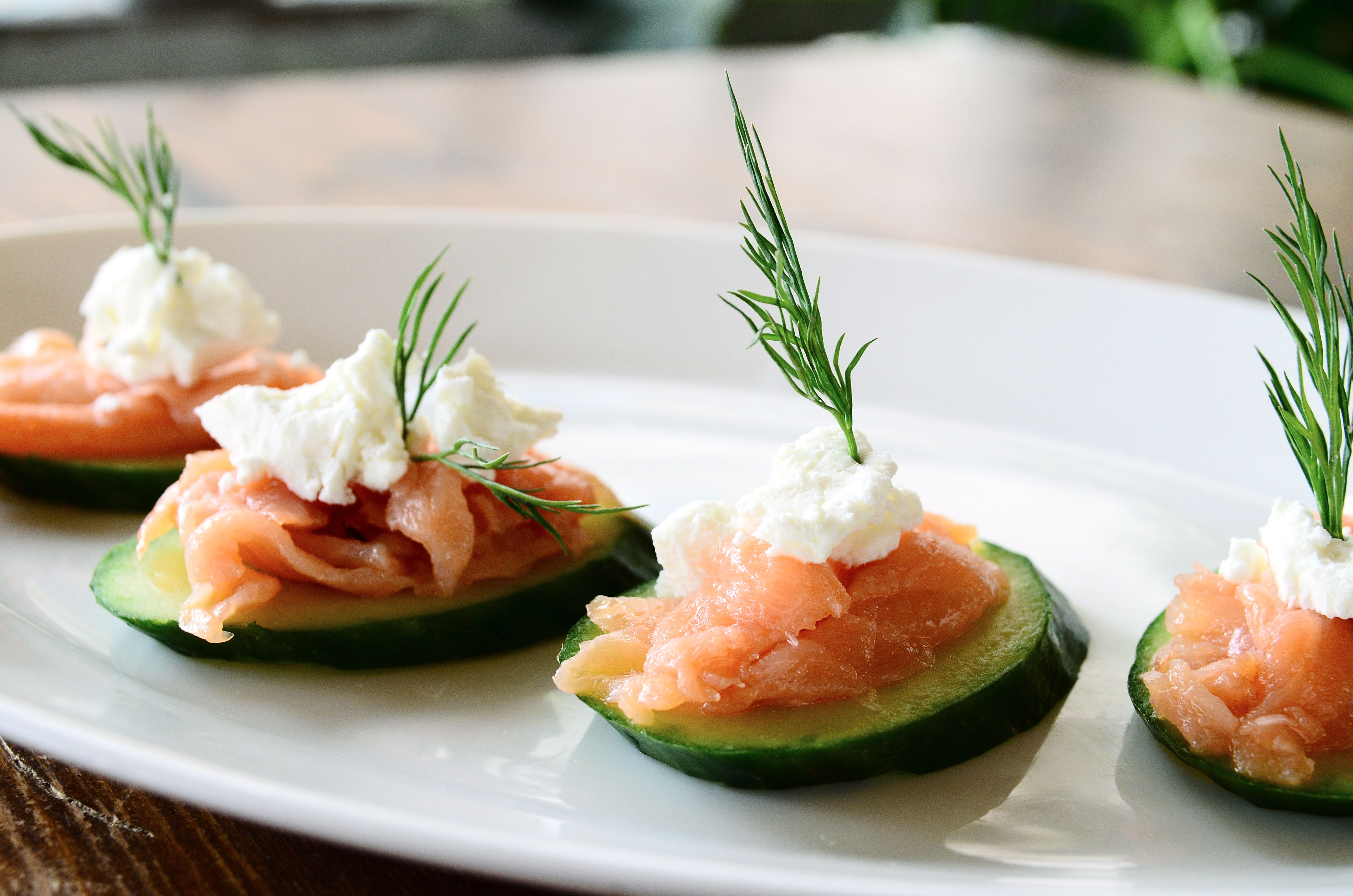 Smoked salmon cucumber canapes glitz glam party for Cream cheese canape