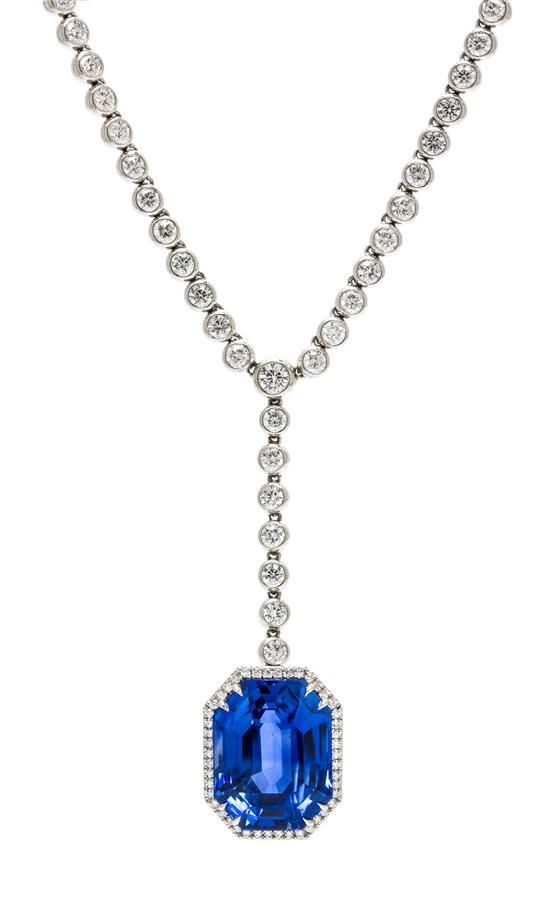A Fine Platinum Diamond And Ceylon Sapphire Necklace