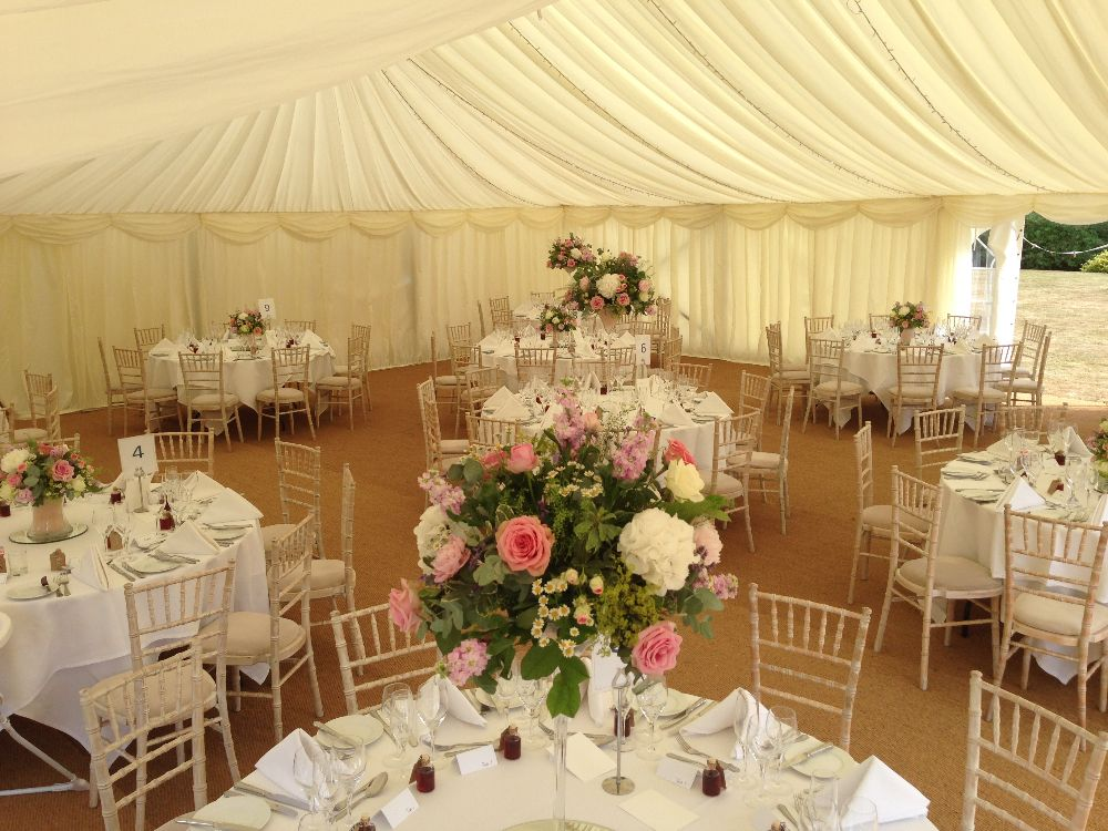 Classically simple wedding decorations at Hill; a