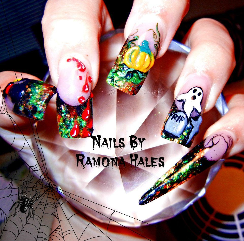 Nails done by me. Fully Sculpted Acrylic Halloween nails with 3D art ...