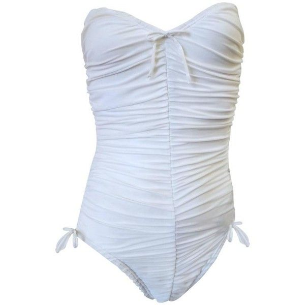 cf57de89f7 Preowned 1980s Yves Saint Laurent White Ruched Swimsuit ( 425) ❤ liked on  Polyvore featuring swimwear
