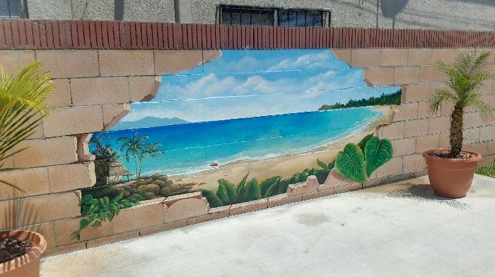 Outdoor broken cinder block beach scenery mural idea as for Exterior wall mural ideas