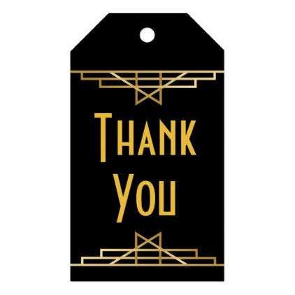 Art Deco Thank You Black Gold Great Gatsby Party Gift Tags Roaring 20s Wedding