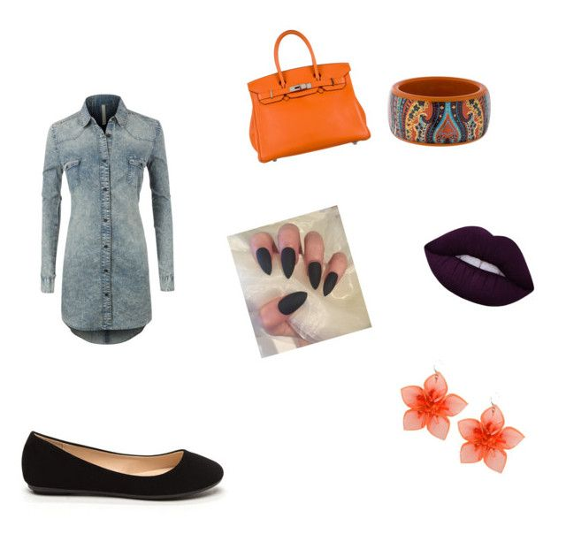 """Back to the Basics!"" by jelms20045 ❤ liked on Polyvore featuring LE3NO, Hermès, Lime Crime, Dsquared2 and Etro"