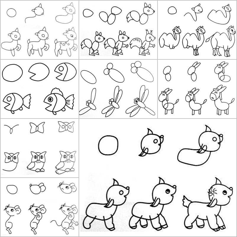 How to Draw Easy Animal Figures in Simple Steps | Creative ...