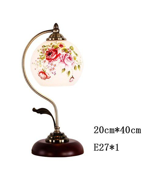 Chinesische Tischlampe Schlafzimmer Nacht Glas Holz-Lampe