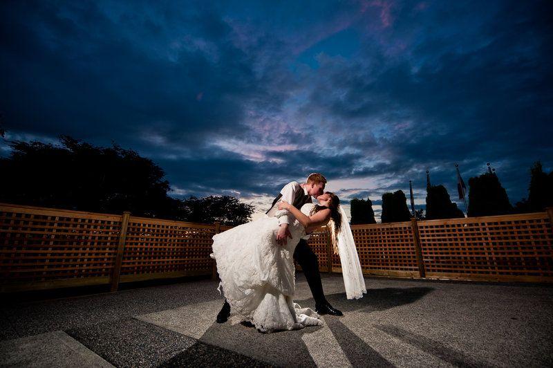 Nighttime wedding photo of bride and groom. Gorgeous sky!! Matt Kennedy - Portfolio Photo By www.mattkennedy.ca