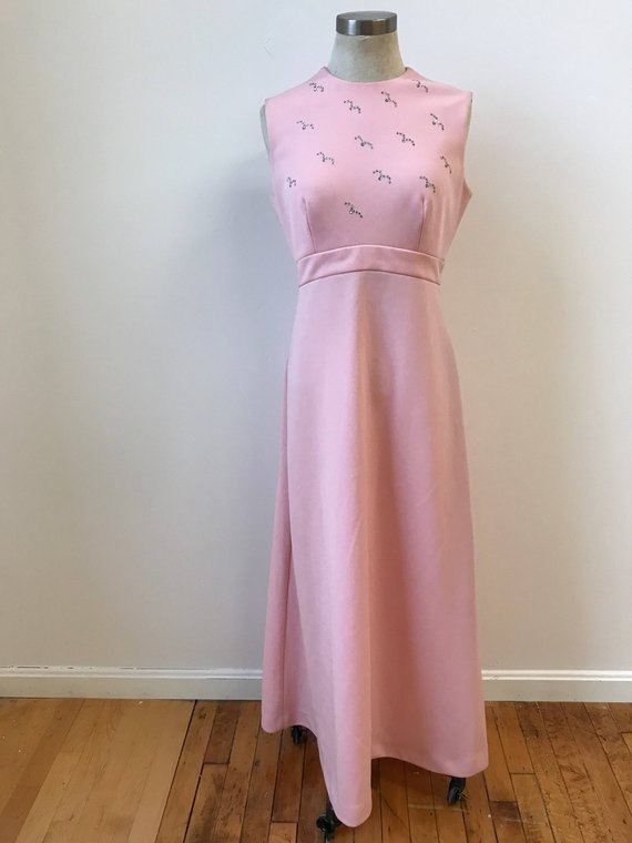 4711017dcf Vintage Pale Pink Maxi Dress   1970s Pink Maxi Dress   Long Pink Dress   70s  Prom Dress   70s Dress