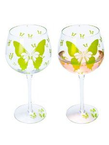 """Set of 4 Pieces 9"""" Art Glass Green Butterfly Wine Goblet Glasses 21oz by American Chateau. $42.99. You get 4 Pieces. Material: GLASS. Color: Clear. Size: 9.0"""" H x 3.5"""" L x 3.5"""" W. Color: Clear; Material: GLASS; Size: 9.0"""" H x 3 1/2"""" L x 3 1/2"""" W; You get 4 Pieces"""