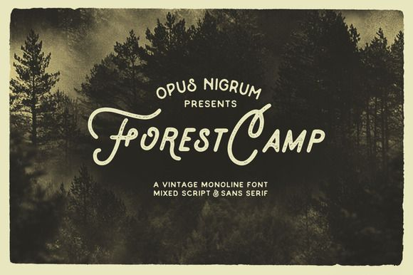 Forest Camp Font + Free Vector Pack by OpusNigrum on