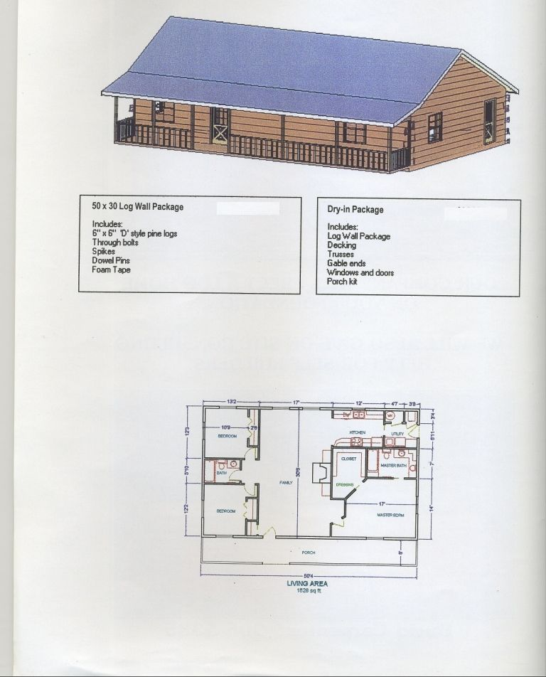50x30plan carpenter log homes plans on 30x50 home floor for Steel building floor plans