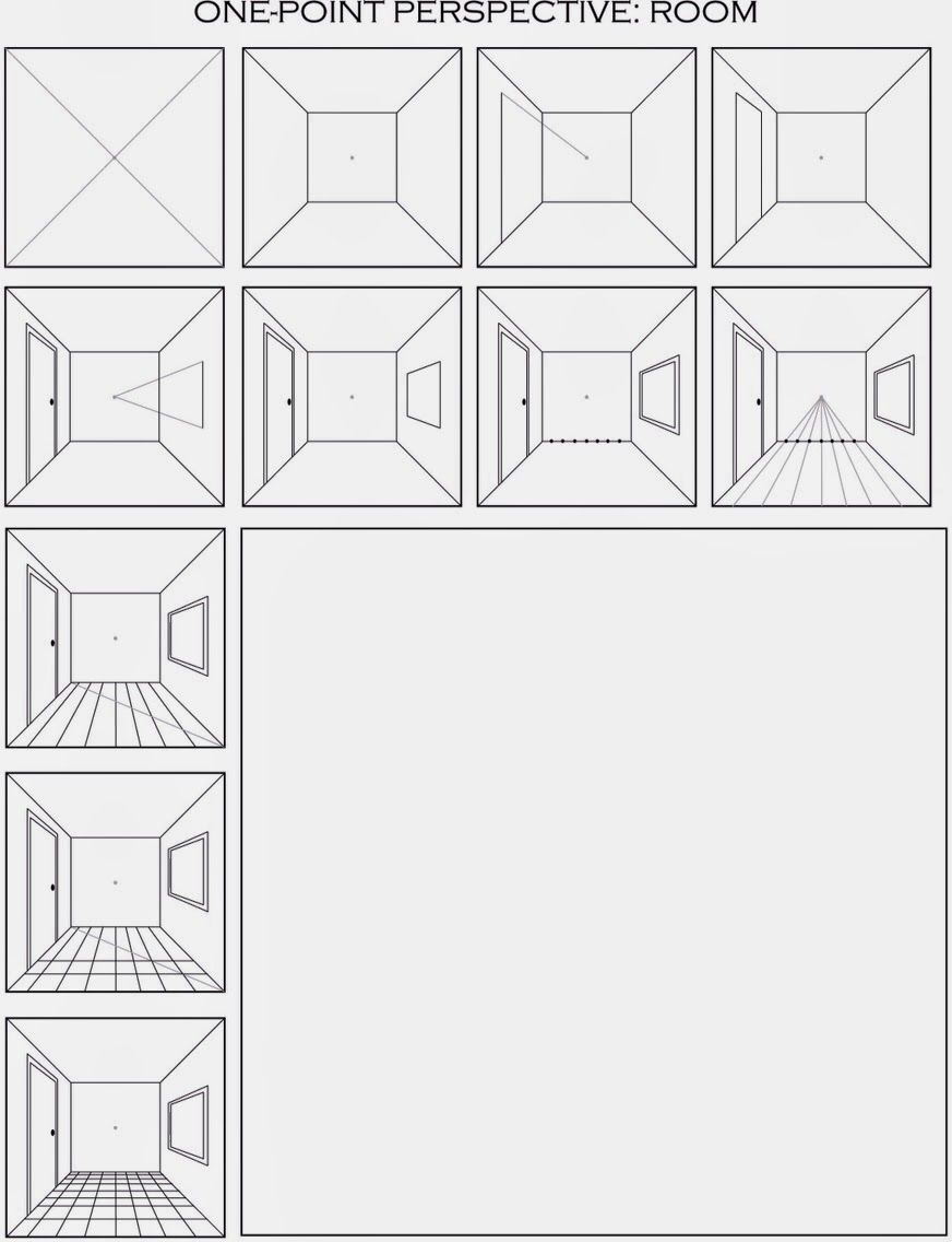 The Helpful Art Teacher Draw a Surrealistic Room in One Point – Step 1 Worksheet