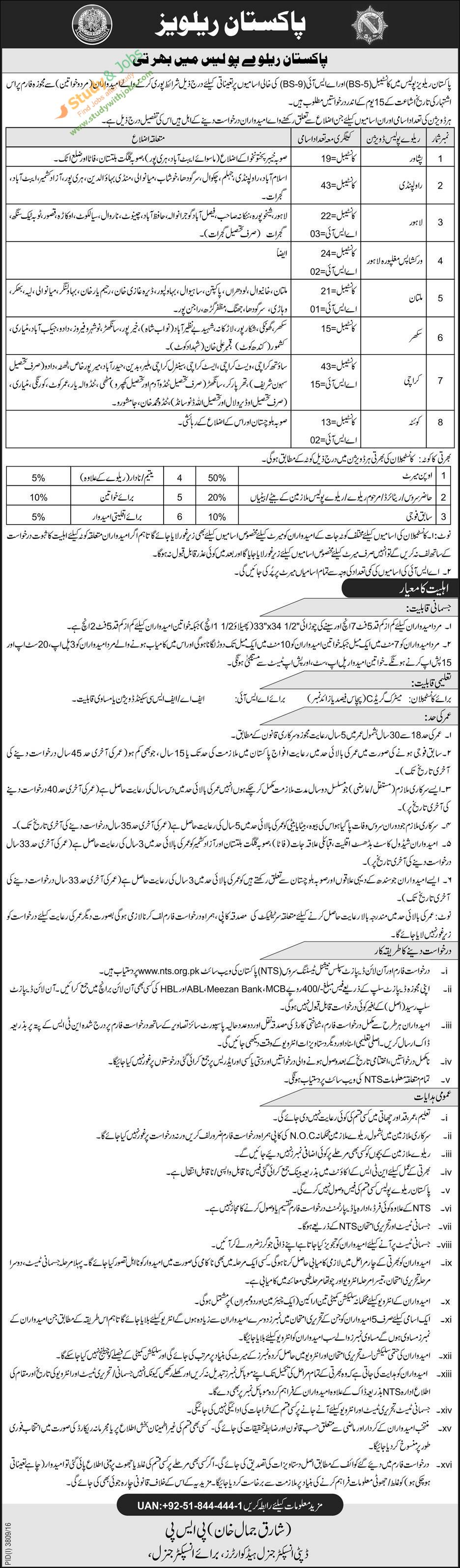 Various Best Jobs In Pakistan Railways Police Th January