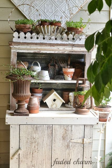 Very Rustic Cupboard on the Porch at Faded Charm