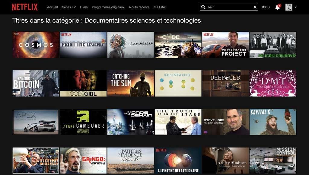 Netflix les codes pour accéder aux catégories cachées