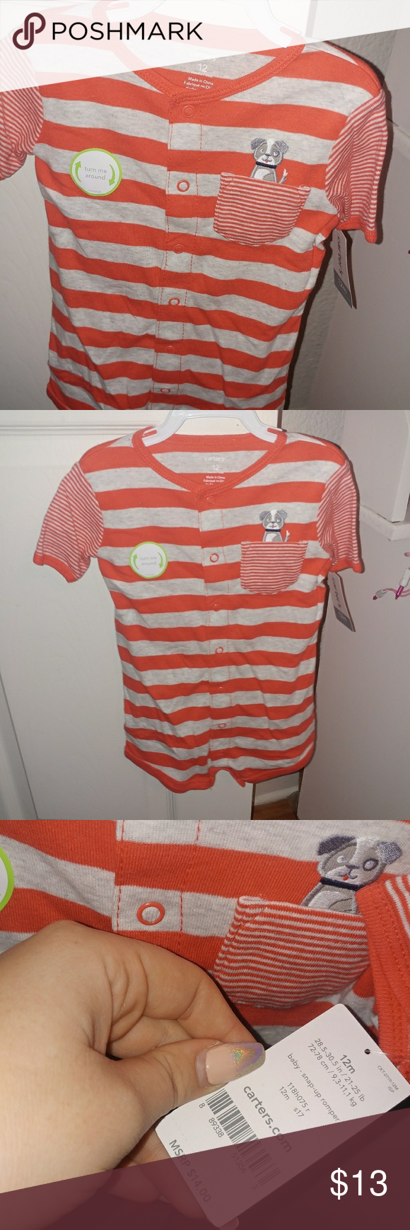 Carters Doggy Red Stripe One Piece Jumper Boutique 5 In 1 12m 21 25 Lbs Nwt