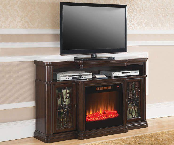Strange 60 Walnut Finish Electric Fireplace At Big Lots Media Beutiful Home Inspiration Semekurdistantinfo