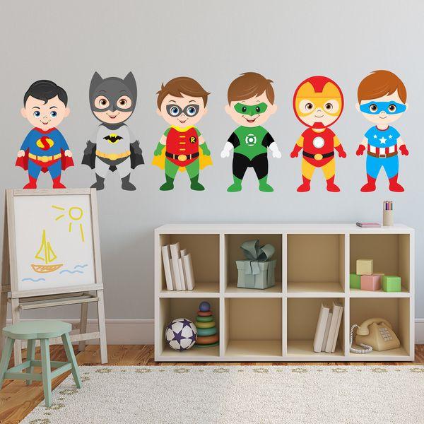 Adesivi per bambini: Kit eroi pie. Adesivi murali bambini a kit ...