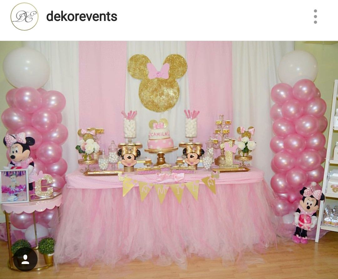 Minnie Mouse 1st Birthday Party Dessert Table And Decor Minnie Birthday Minnie Party Minnie Mouse Birthday Party