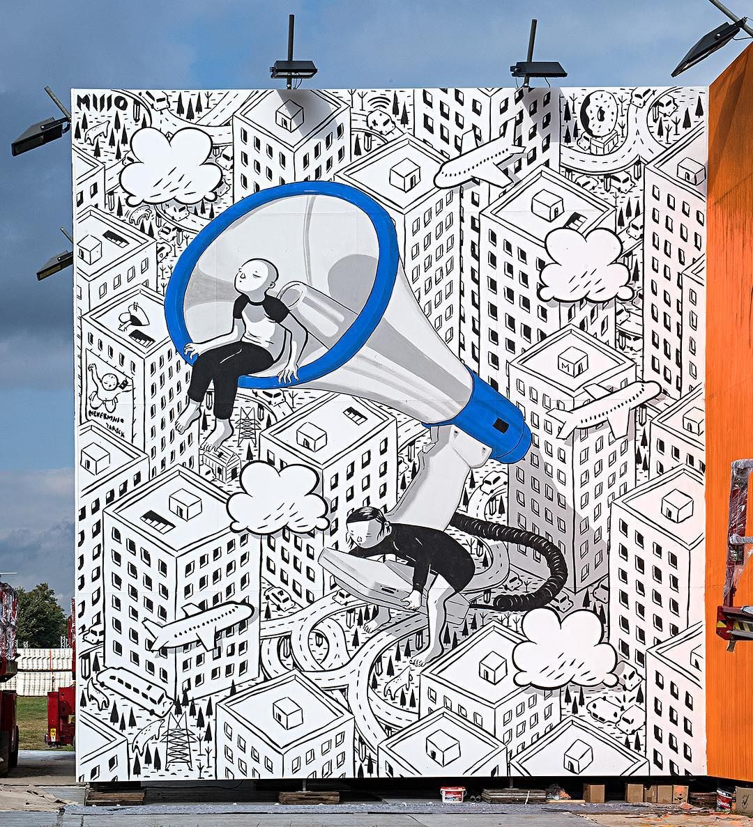 """To the moon"" Lollapalooza Berlin 2017 – Urban Nation Pavilion: new piece by Italian artist Francesco Camillo Giorgino aka Millo. ""To-get-there we need to work Together and …"