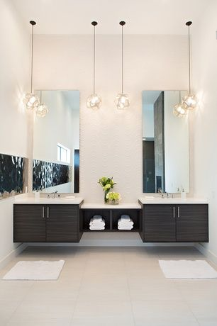 Contemporary Master Bathroom With Limestone Tile Floors Pendant Light Double Sink Undermount Flush