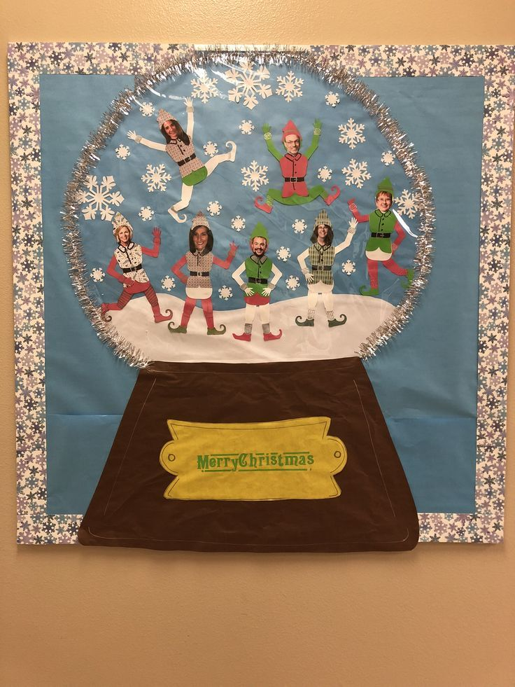 Snow globe bulletin board for Christmas with admin staff as elves!, #admin #board #bulletin #christmas #elves #globe #staff #decemberbulletinboards