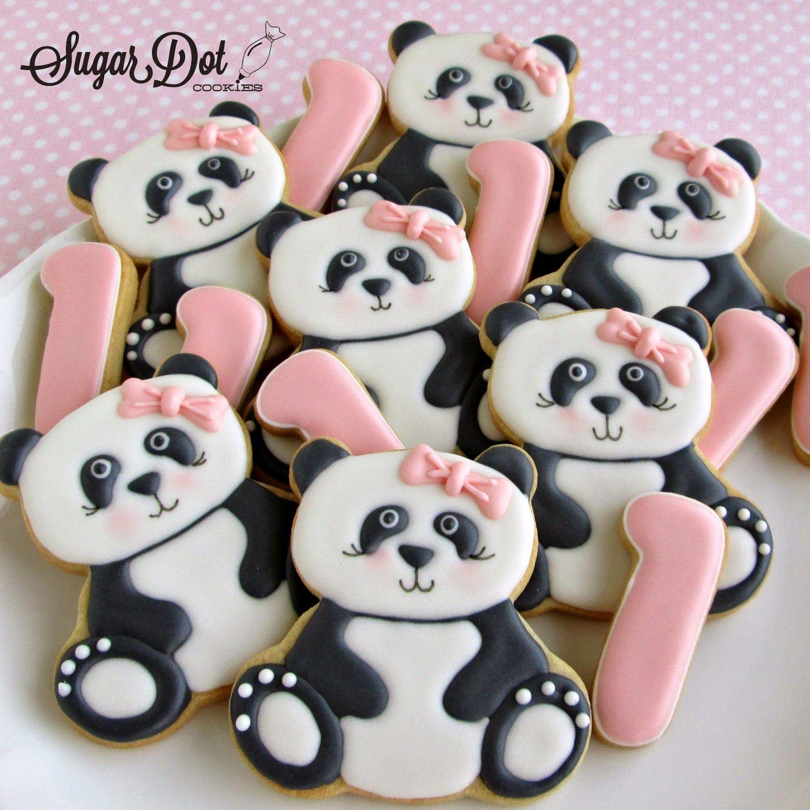 Panda Cookies By Sugar Dot Cookies Cokiees Decoradas