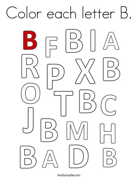 Color each letter B Coloring Page - Twisty Noodle | Letter ...